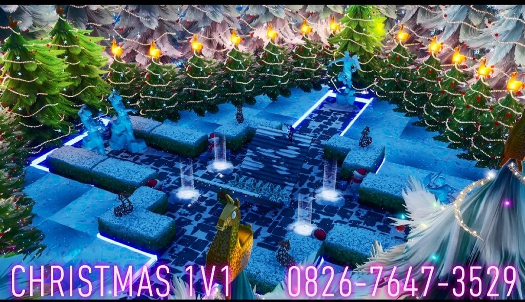 Fortnite 1v1 Map All Weapons On Floor With Grapplers Christmas 1v1 Fortnite Creative Map Code Dropnite