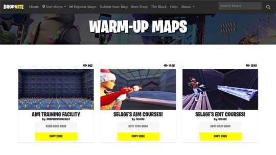 Fortnite Warm Up Maps - Fortnite Creative Codes - Dropnite com